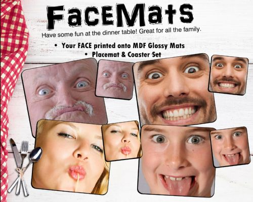 Personalised FACEMATS Placemat & Coaster Set - Your face printed  - Great fun! (Qty 1 Set)
